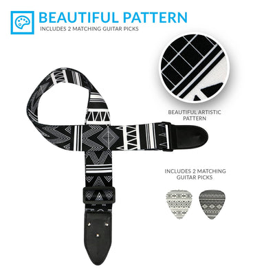 Black & White Southwestern Guitar Strap - Art Tribute