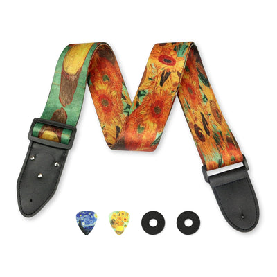 """Sun Flowers""  - Vincent Van Gogh Guitar Strap Set - Art Tribute"