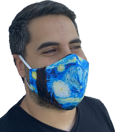 Van Gogh Starry Night Face Mask 3 Layers Cotton Washable and Reusable face mask with filter