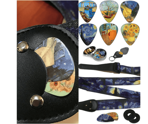 Van gogh guitar strap & picks bundle set
