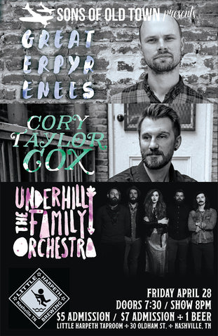 Friday April 28 Little Harpeth Brewing Cory Taylor Cox Greater Pyrenees The Underhill Family Orchestra