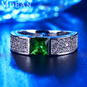 Emerald rings for women Green white gold plated women rings