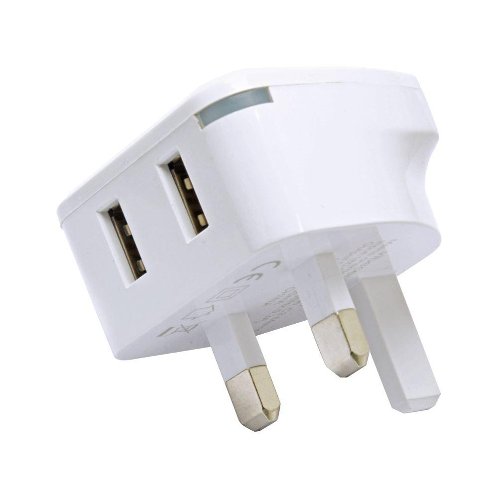 C3 Dual USB 3.1 AMP Mains Charger - White