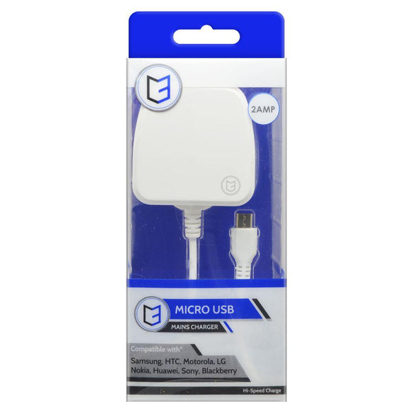 C3 2 AMP Micro USB Mains Charger - White