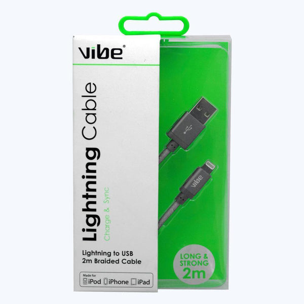 Vibe Apple Approved MFI 2Metre Braided Lightning to USB Data Cable
