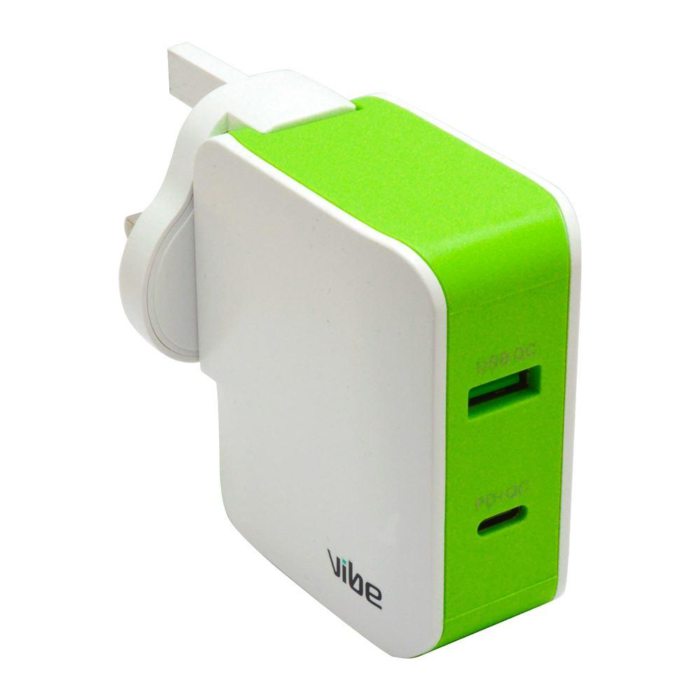 Vibe Ultra Fast Charger PD + USB Qualcomm Mains Chargers - White by  Vibe Centre