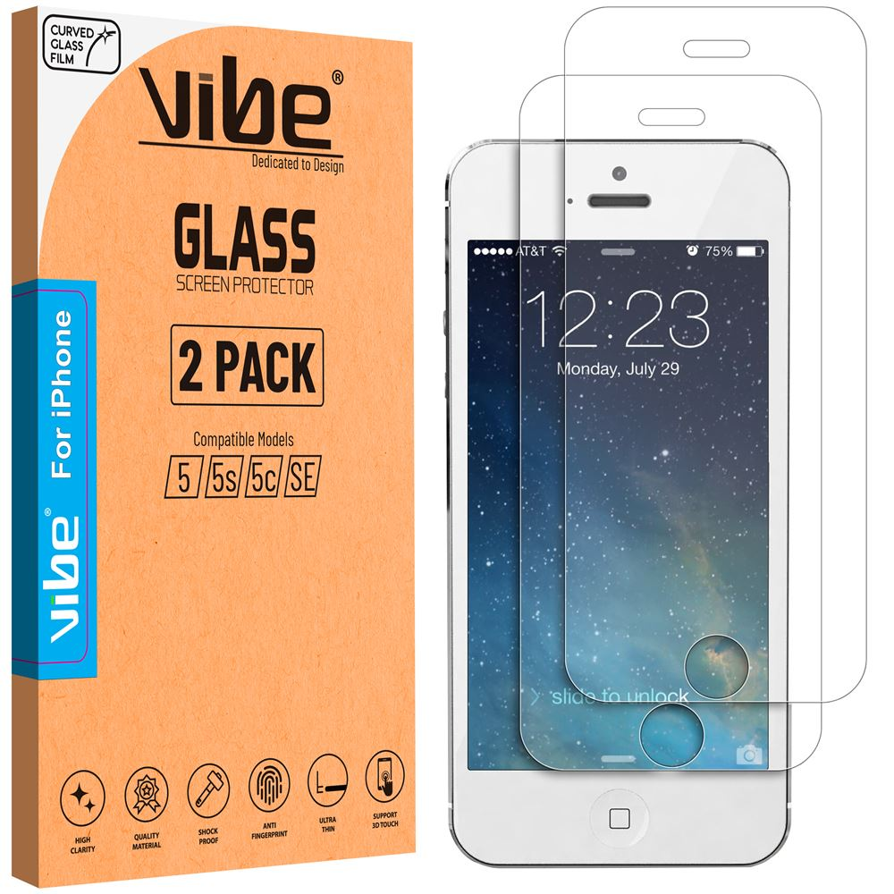 Vibe Apple iPhone 5 5s 5c SE Temper Glass Screen Protector Glass Film by  Vibe Centre