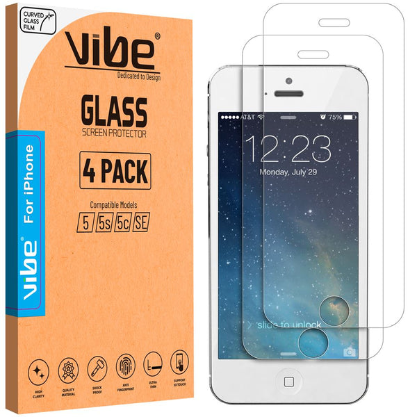 Vibe Apple iPhone 5 5s 5c SE Temper Glass Screen Protector Glass Film