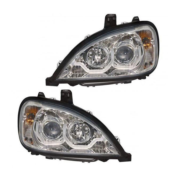 Freightliner Columbia Truck Chrome Projection Headlight Set 2004-2011 w/ LED BAR
