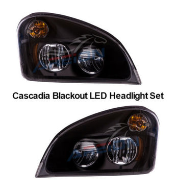 Freightliner Cascadia LED Headlight Set | Ambar Turn Signal | Bulbs Included | Areion