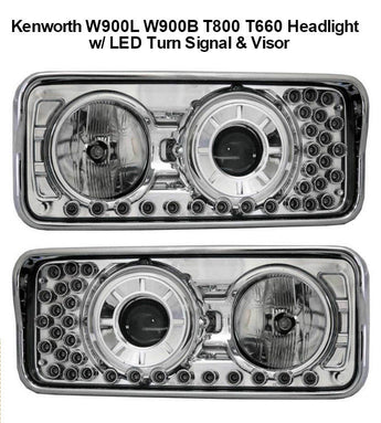 Kenworth W900L W900B T800 T600 Truck Chrome Projector Headlights With Amber LED