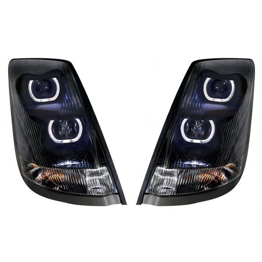 Volvo truck headlight with angel eye projection - front