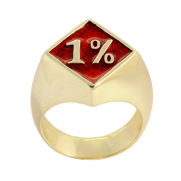 1% Ring 1er OUTLAW BIKER RING in Bronze with Red Enamel One Percent Motorcycle Club
