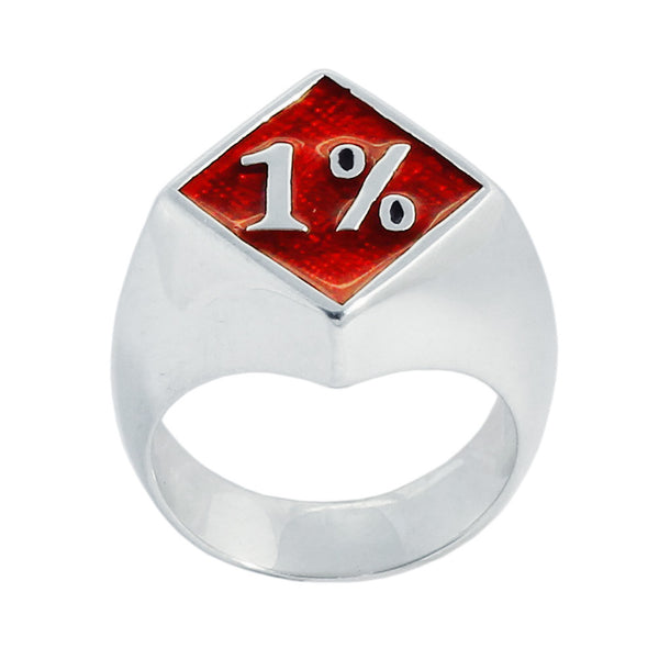1% Ring 1er OUTLAW BIKER RING in Sterling Silver 925 with Red Enamel One Percent Motorcycle Club