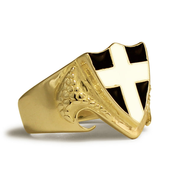 Bronze Dragon Shield Ring England UK Ring - British Medieval Coat of Arms White Cross on Black