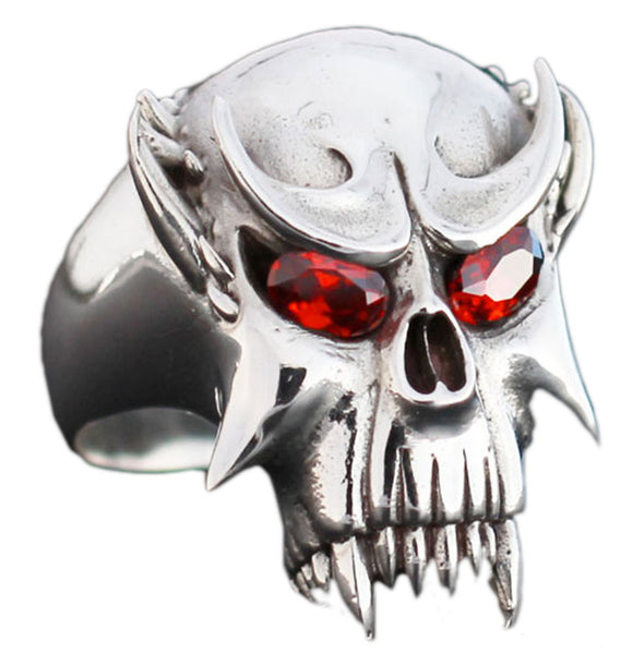 Sterling Silver Vampire Skull Ring With Red Diamond Eyes Dracula Nosferatu Biker Ring