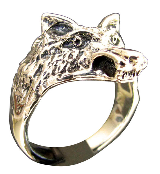 Wolf Ring Coyote Head in Bronze