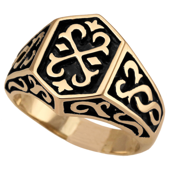 Medieval Knights Templar Ring Celtic Crest Design in Bronze