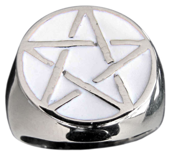 Sterling Silver Pentacle Ring Celtic Pentagram Wicca Symbol with White Enamel