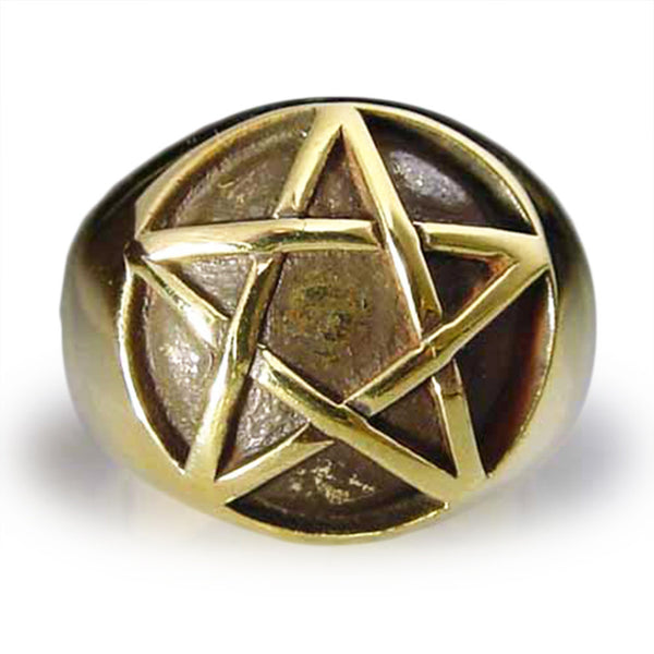 Bronze Pentacle Ring Celtic Pentagram Symbol Wiccan Jewelry - All Sizes