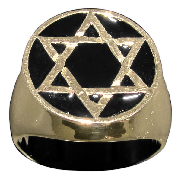 Star of David Ring Hexagram in Bronze With Black Enamel