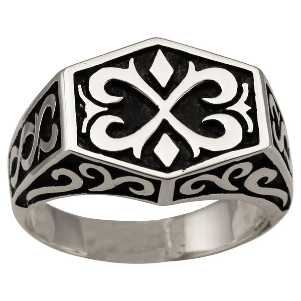 Knights Templar Medieval Ring Celtic Crest Design in Sterling Silver 925