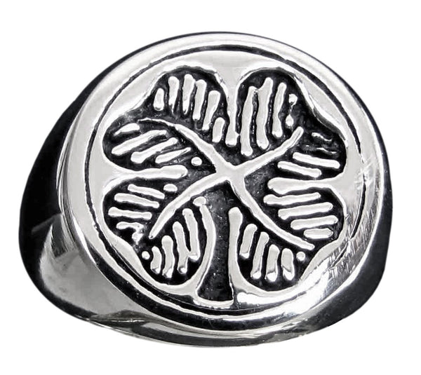 Four Leaf Clover Ring Irish Shamrock in Sterling Silver 925 with Antiquated Finish