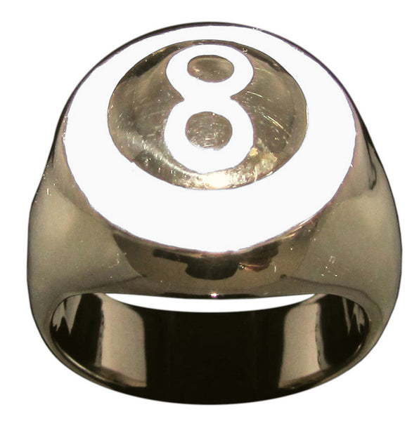 8 Ball Ring With White Enamel, Eight Ball in Bronze