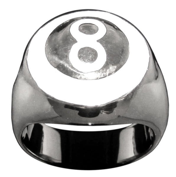 8 Ball Ring With White Enamel, Eight Ball in Sterling Silver 925