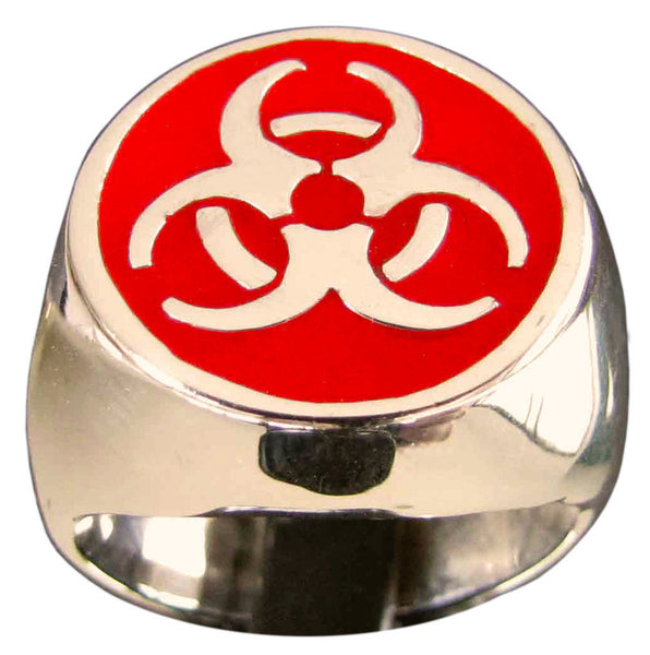 Resident Evil Ring Biohazard Toxic Waste Symbol in Bronze with Red Enamel