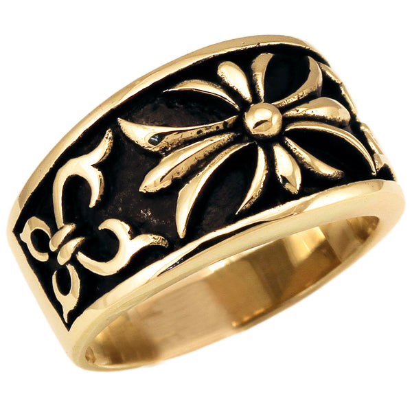 Medieval Knights Templar Fleur-de-Lis Cross Ring in Bronze with Antiqued Finish