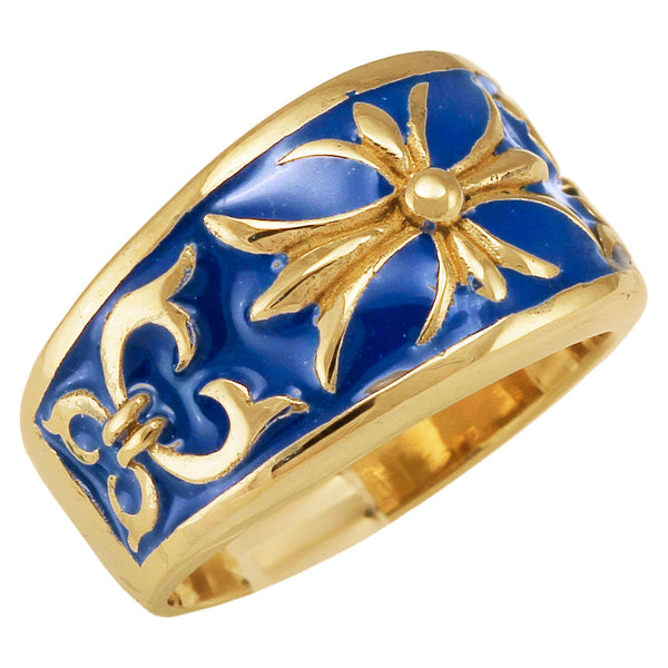 Bronze Knights Templar Fleur-De-Lis Cross Ring with Decorated Medieval Carvings and Blue Enamel