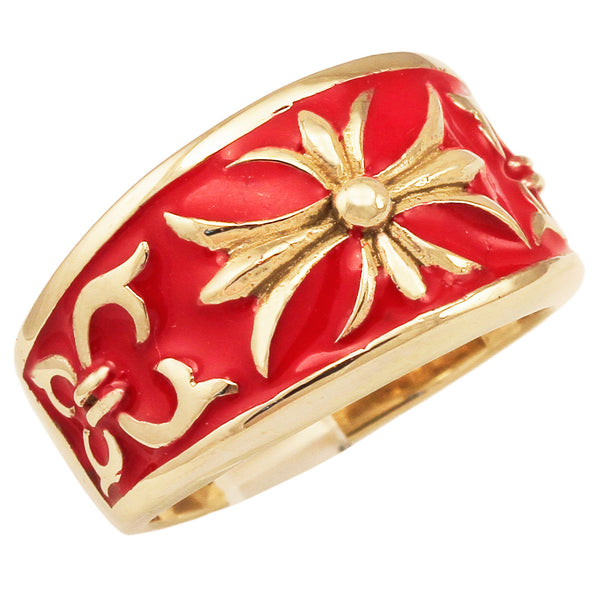 Bronze Knights Templar Fleur-De-Lis Cross Ring with Decorated Medieval Carvings and Red Enamel