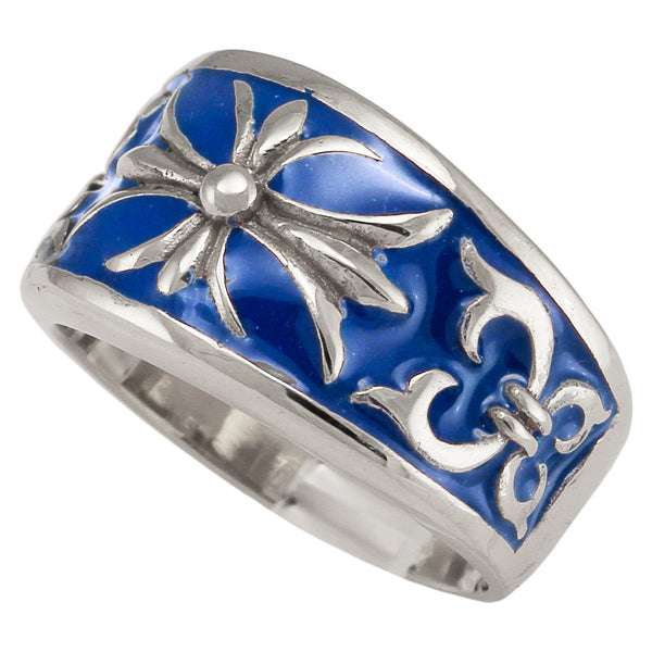Silver Knights Templar Fleur-De-Lis Cross Ring with Decorated Medieval Carvings and Blue Enamel