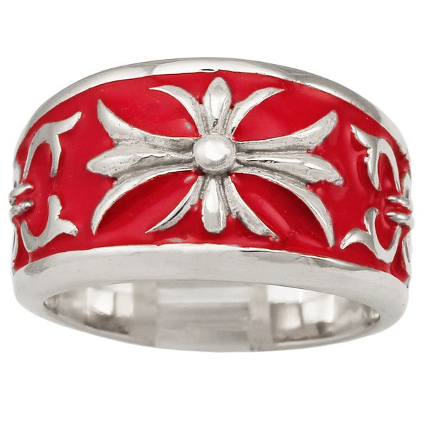 Silver Knights Templar Fleur-De-Lis Cross Ring with Decorated Medieval Carvings and Red Enamel