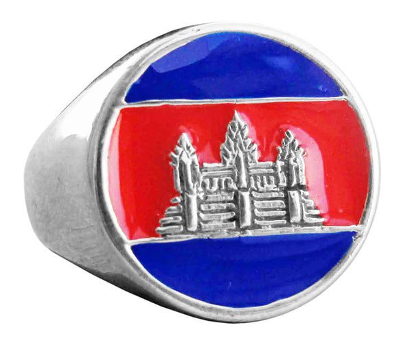 Cambodia Flag Ring Ankhor Wat in Sterling Silver 925 with Red/Blue Enamel