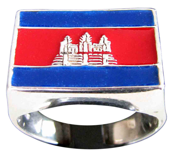 Cambodia Flag Ring Ankhor Wat in Sterling Silver 925 with Red/Blue Enamel (Rectangular)