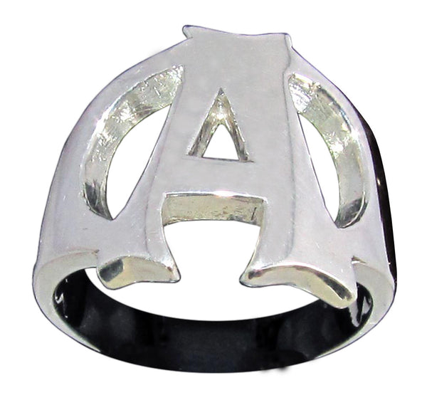 Capital Initial A Ring Block Letter in Sterling Silver 925