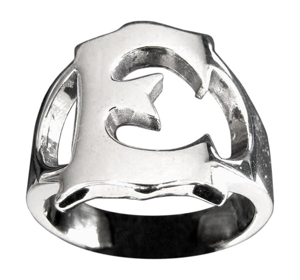 Capital Initial E Ring Block Letter in Sterling Silver 925