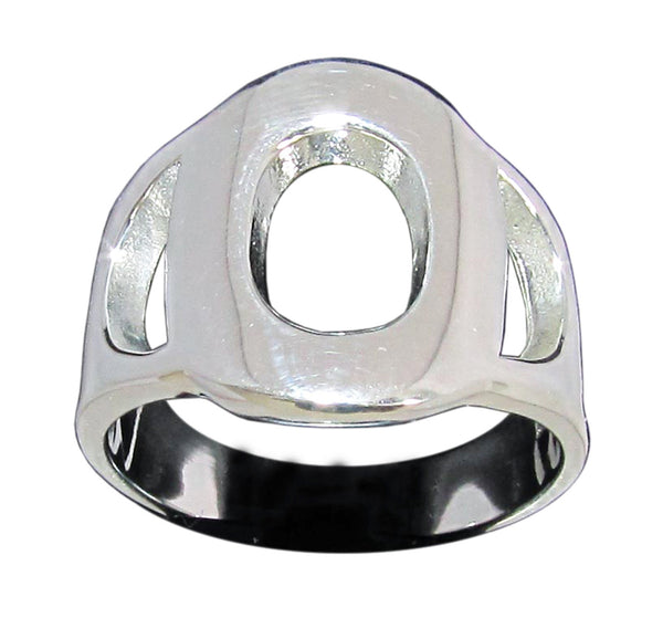 Capital Initial O Ring Block Letter in Sterling Silver 925