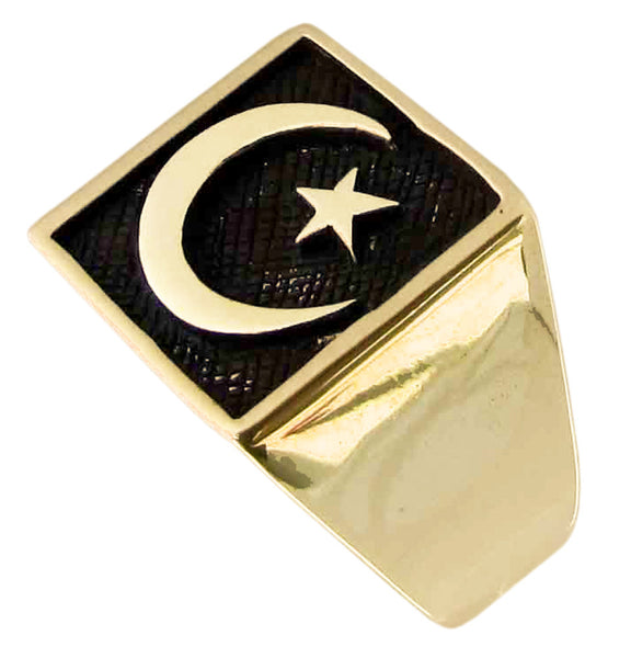 Star and Crescent Ring Symbol of Islam in Bronze