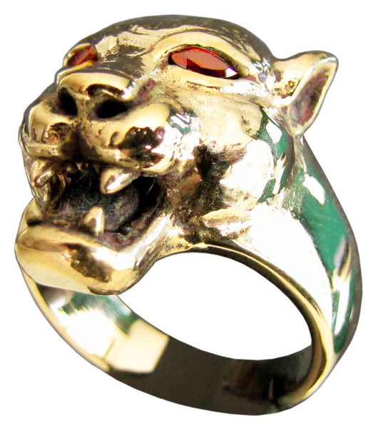 Female Lion Ring With Red Diamond Eyes in Bronze