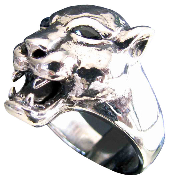 Female Lion Ring with Blue Diamond Eyes in Sterling Silver 925