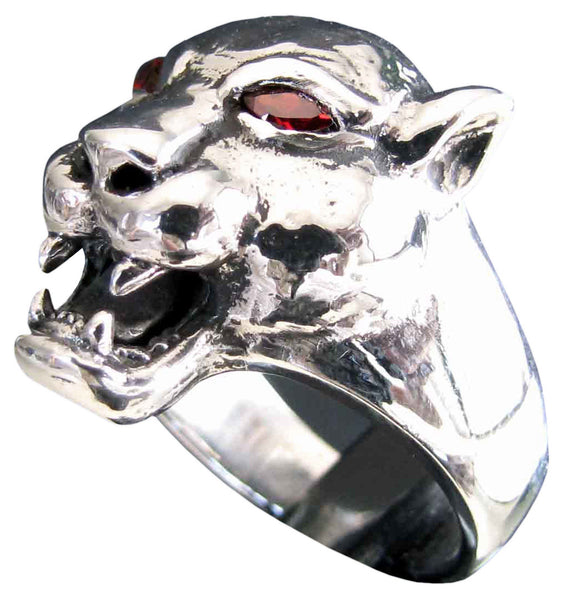 Female Lion Ring With Red Diamond Eyes in Sterling Silver 925