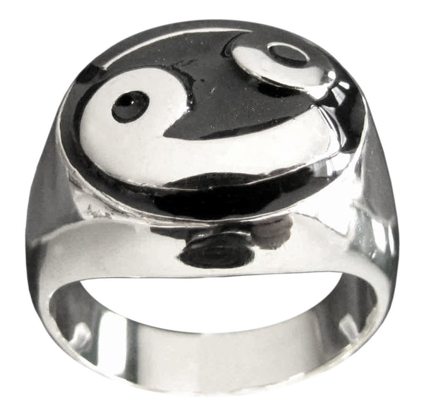 Cancer Zodiac Ring Astrology Symbol in Sterling Silver 925 with Black Enamel