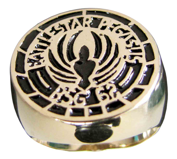 Battlestar Gallactica Pegasus Ring BS 62 Symbol in Bronze with Black Enamel - Size 16
