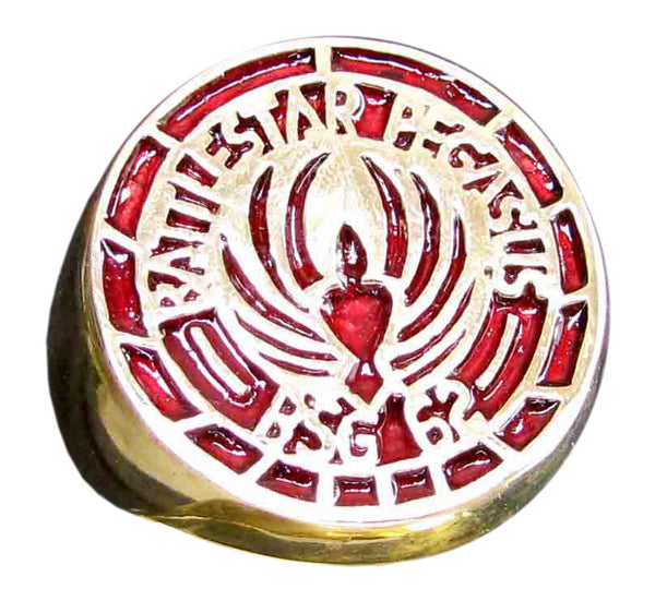 Battlestar Gallactica Pegasus Ring BS 62 Symbol in Bronze with Red Enamel - Size 16