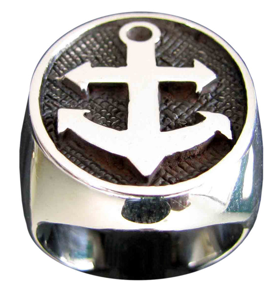 Boat Anchor Ring Sailor Yacht in Sterling Silver 925