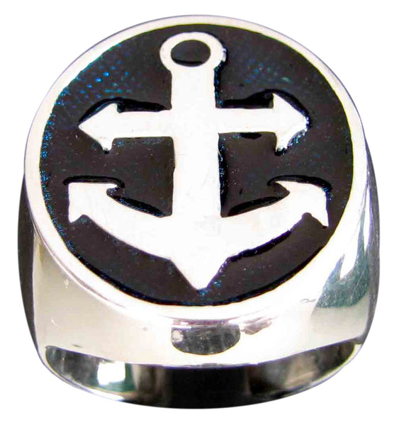 Boat Anchor Ring Sailor Yacht in Sterling Silver 925 with Blue Enamel