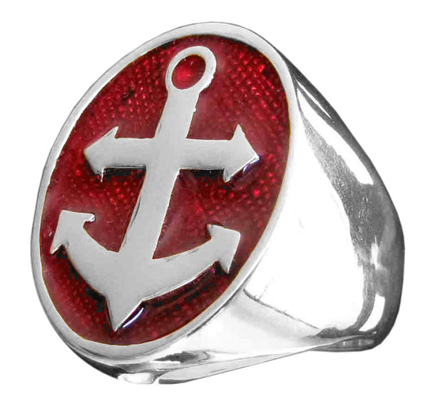 Boat Anchor Ring Sailor Yacht in Sterling Silver 925 with Red Enamel